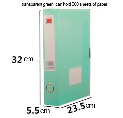 A4 thickened transparent colorful file box, hard plastic document holder storage box