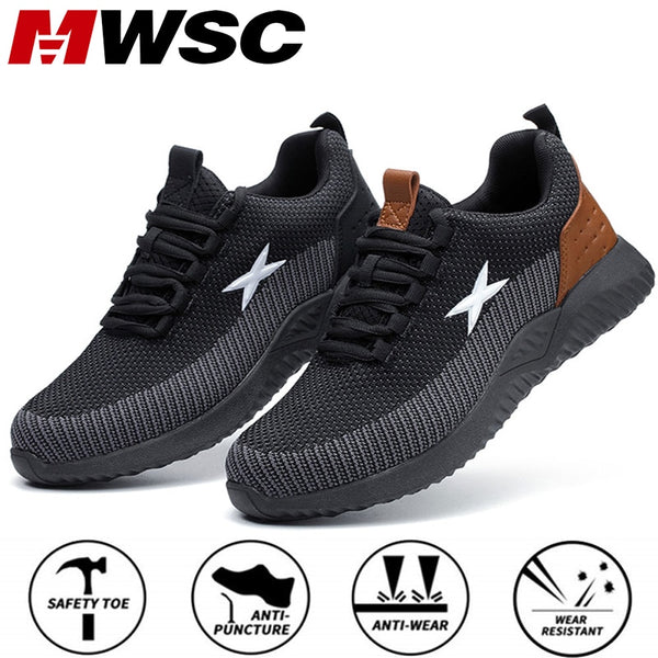 MWSC Safety Work Shoes For Men Steel Toe Cap Anti-smashing Boots Big Size 48