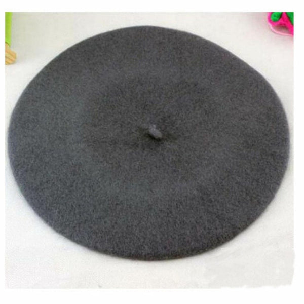 Winter Warm faux Wool Beret Women Girls French Artist Beanie Hat Cap Kawaii Flat Top caps warmers