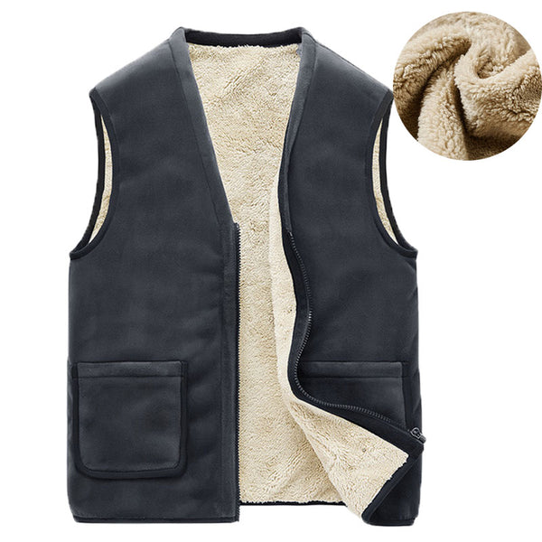 Autumn Winter Casual Sleeveless Jacket Men Warm Fleece Mens Vest Jacket 5XL Black