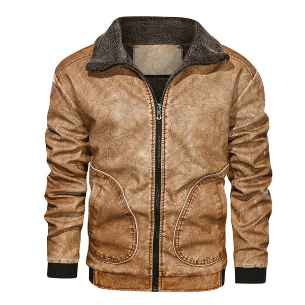 Mountain Skin Winter Mens PU Jacket Thick Warm Men's Motorcycle Jacket