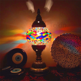 Turkish Mosaic Table Lamp Vintage Art Deco Handcrafted Lamp