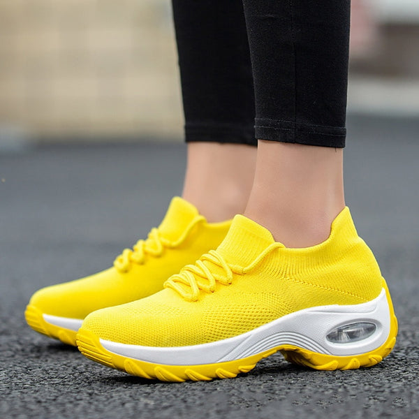 Wedges Shoes For Women Yellow Sneakers Comfort Ladies Trainers Women