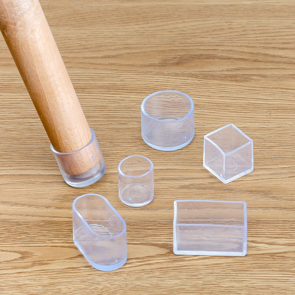 4Pcs silicone Chair Leg  socks Transparent square Table Floor Feet Cover Protector Pads