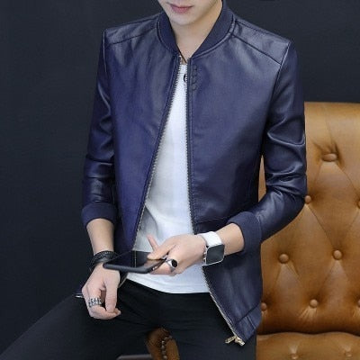 Men's Leather Patchwork Jackets Slim Fit Round Neck Black Casual Leather Jacket