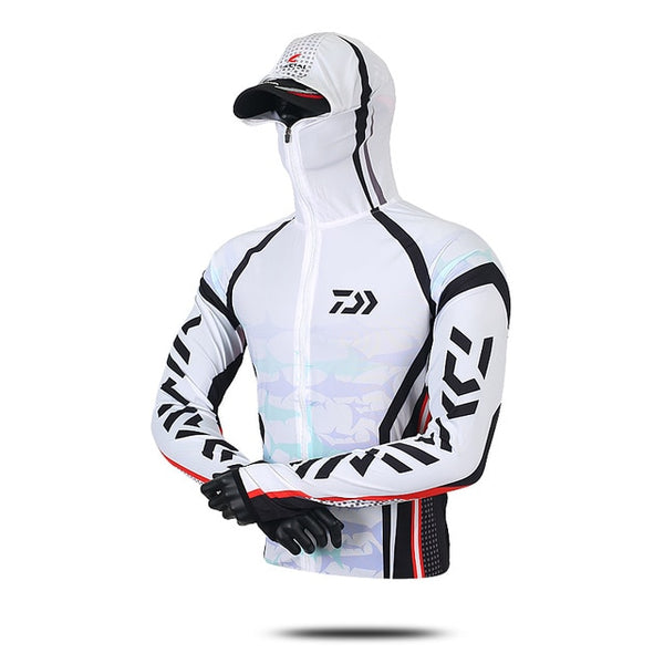 Daiwa Professional Fishing Hoodie Anti-UV Sunscreen Sun Protection Face Neck Fishing Shirt Breathable Quick Dry