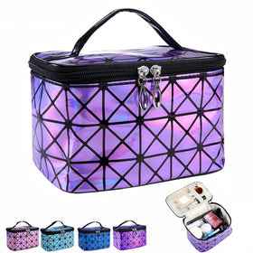Functional Cosmetic Bag Women Fashion PU Leather Travel Make Up Necessaries Organizer
