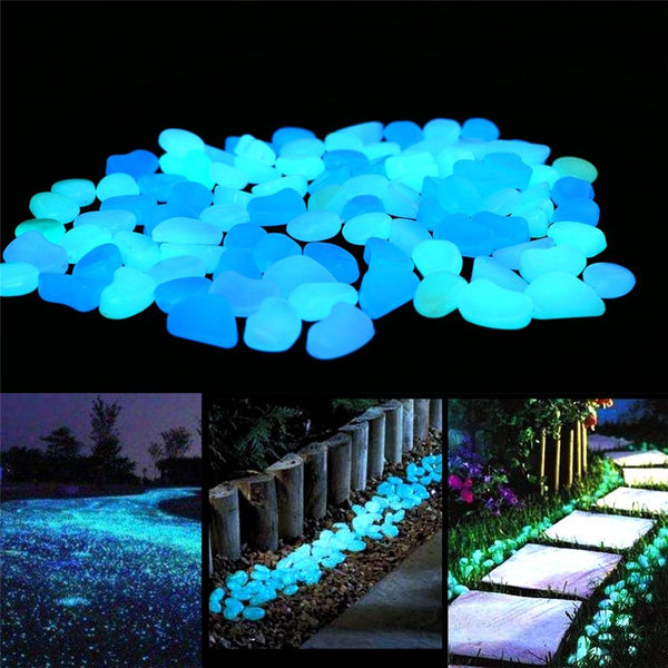 300pcs Garden Glow in the Dark Luminous Pebbles for Walkways Plants