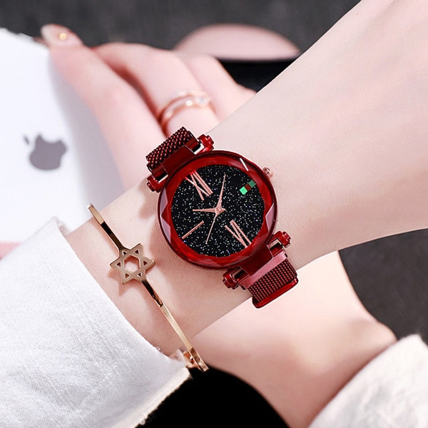 Luxury Rose Gold Women Magnet Buckle Fashion Casual Female Wristwatch