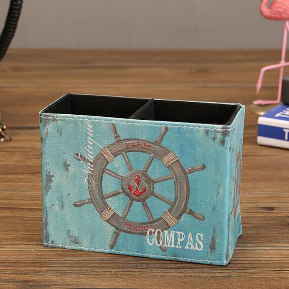 Sharkbang Vintage PU Leather Desktop Pen Holder Desk Organizer
