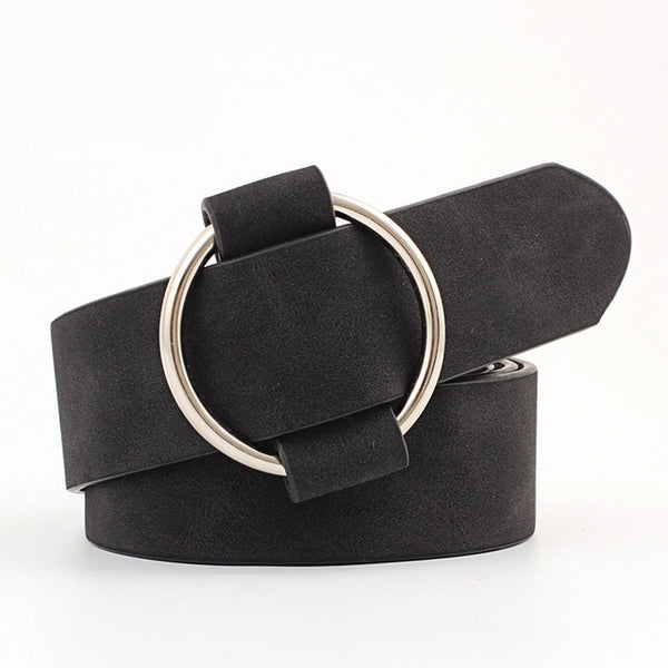 NO.ONEPAUL Circle Pin Buckles Belt female deduction side gold buckle jeans wild belts for women