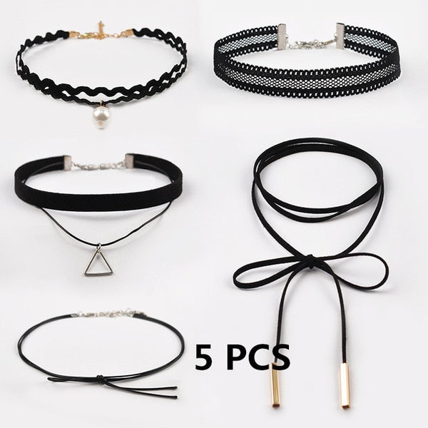 Choker Necklace Black Lace Velvet Strip Woman Collar Party Jewelry Chain Necklace