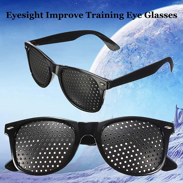 Black Unisex Vision Care Pinholes Eye Exercise Eyeglasses Pinholes Glasses