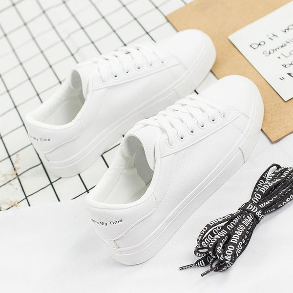 BODENSEE White Sneakers Women Canvas Fashion Vulcanize Shoes Plus Size 35-42