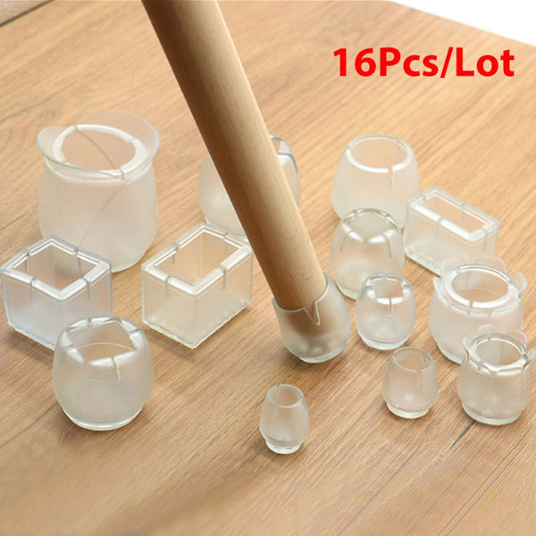 16Pcs/Lot Table Chair Leg Mat Silicone Non-slip Table Chair Leg Caps Foot Protection