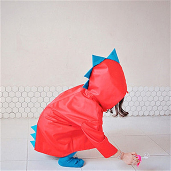 VILEAD Cute Dinosaur Polyester Baby Raincoat Outdoor Waterproof Rain Coat Children