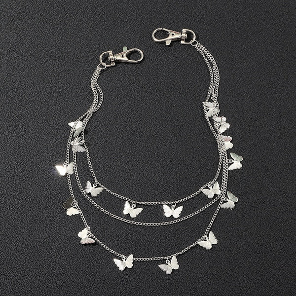 AWAYTR Chic Butterfly Multilevel Layer Metal Chains Waist Key Chain Fashion Side Metal Kettingriem