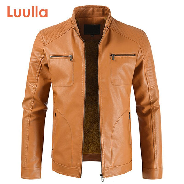 Men Spring New Vintage Casual Style Fleece Leather Jackets Coat Men