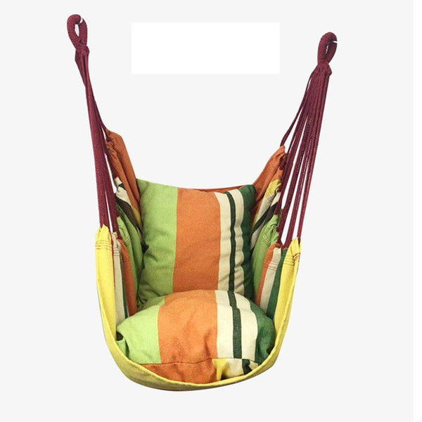 Portable Hammock Chair Hanging Rope Chair Swing Chair Seat with 2 Pillows