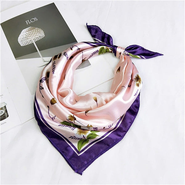 50*50 Multifunction Silk Scarf women fashion Printed Scarves Hair Tie Flower Leopard Striped Ribbon Headwear Retro Neckerchief