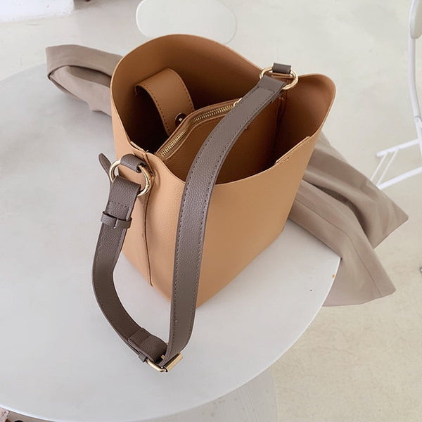 PU Leather Casual Women'S Bucket Shoulder Handbag