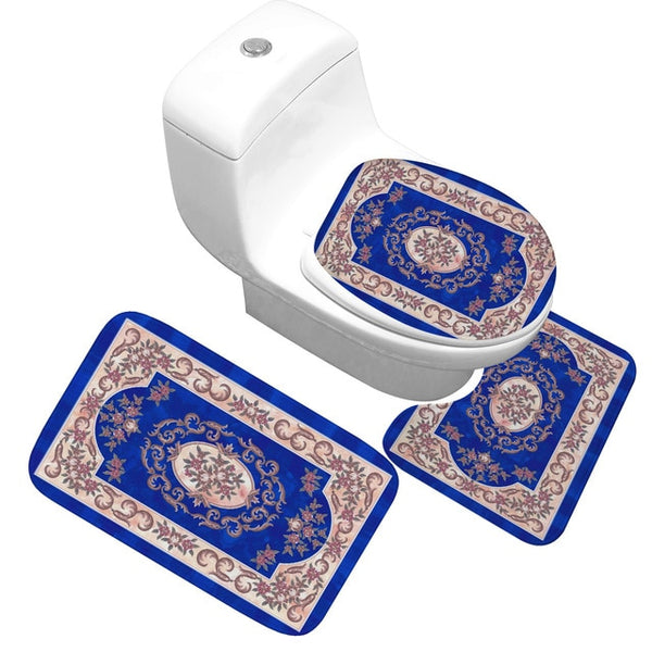 Bath Mat 3 Piece Set Classical Pattern Toilet Cover Foot Pad Non-slip Absorbent
