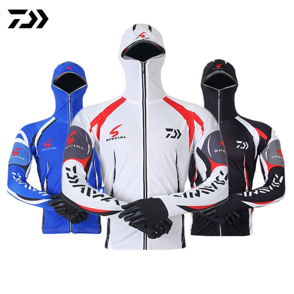 Fishing Shirt Jacket Ice Silk Quick Dry Sports Clothing Sun Protection Face Neck Anti-uv Breathable Fishing Hooded