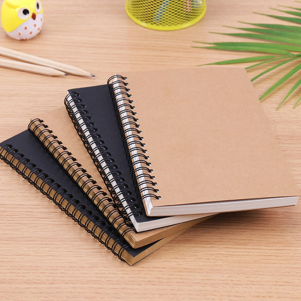 Retro Spiral Coil Sketchbook Kraft Paper Notebook Sketch Painting Diary Journal