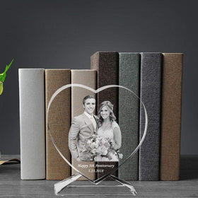3D Laser Engraved Crystal Photo Frame with Stand Heart Shaped