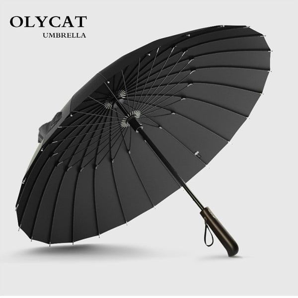 Umbrella Men Women Quality 24K Strong Windproof Glassfiber Frame Wooden Long Handle Umbrella