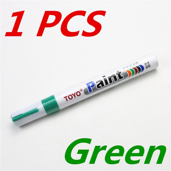 1pcs  colorful marker waterproof lasting white markers tire tread rubber fabric paint metal face