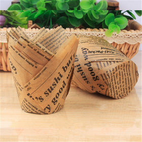 50pcs Newspaper Style Cupcake Liner Baking Cup Oilproof Cake Wrapper