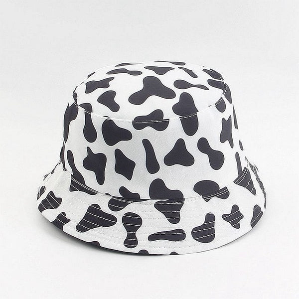 New Fashion Cow Print Hat White Black Bucket Hat Reversible Fisherman Caps Summer Hats For Women Gorras