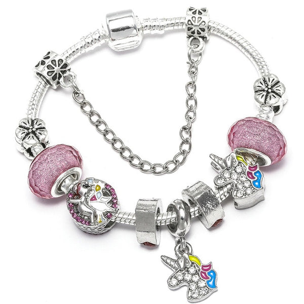 BAOPON Dropshipping Vintage Silver Color Charms Bracelets for Women DIY Crystal Beads Jewelry