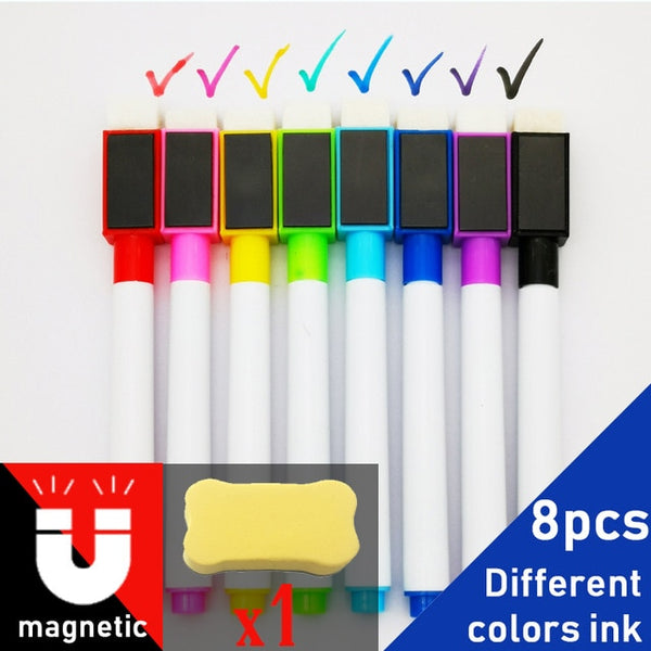 8Pcs/lot Colorful Black School Classroom Supplies Magnetic Whiteboard Pen Markers