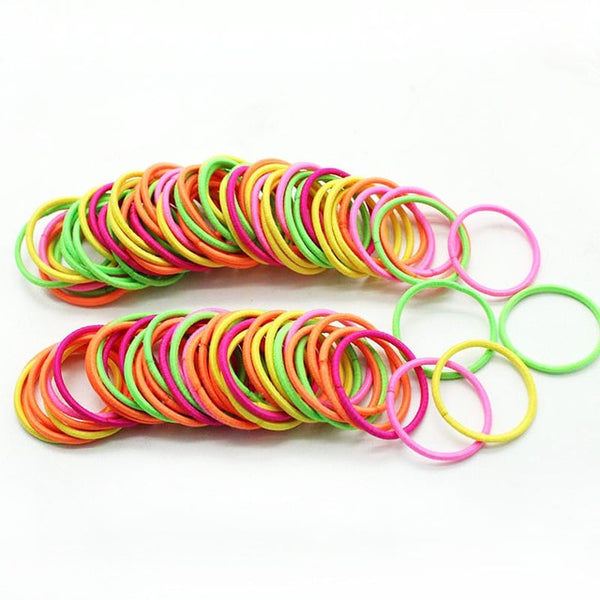 New 100PCS/Lot Girls Candy Colors Nylon 3CM Rubber Bands Children Safe Elastic Hair Bands