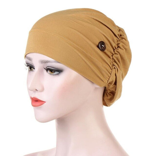 Multicolor Muslim turban hat for women Fashion button linen Inner Hijab caps wrap head scarf hijabs bonnet