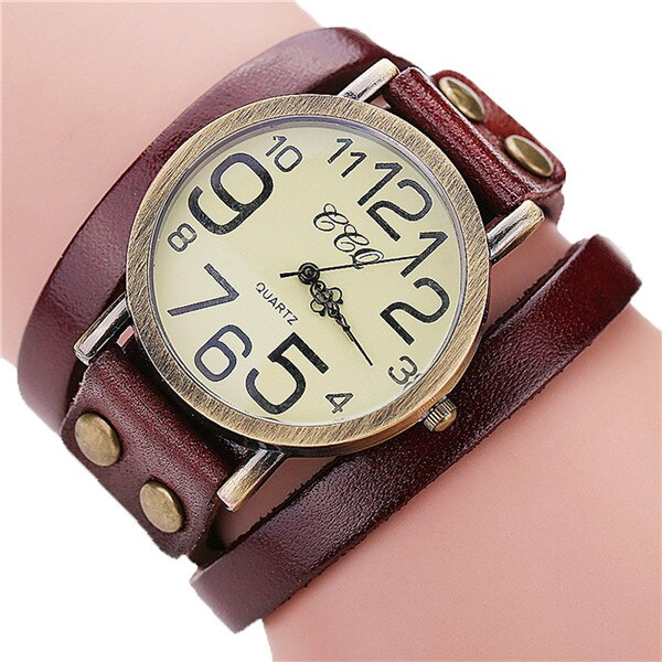 Vintage Cow Leather Bracelet Watch Women Leather Bamboo Women's Watch