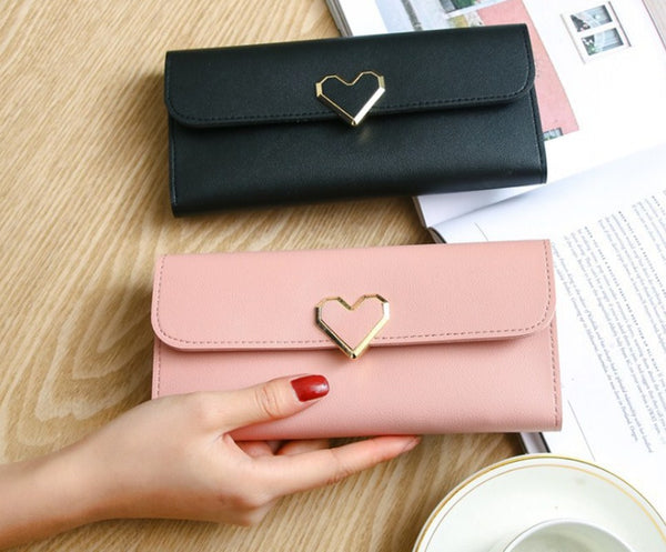 Women Long Wallets Purses Luxury Love Heart Wallets For Ladies