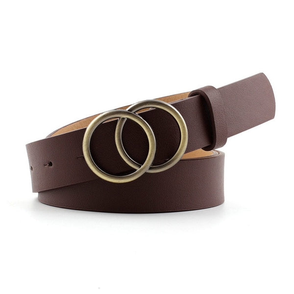 Designer Leather Snake Zebra Belt Leopard Women Female Fashion Waist Double Ring Circle Buckle Belts