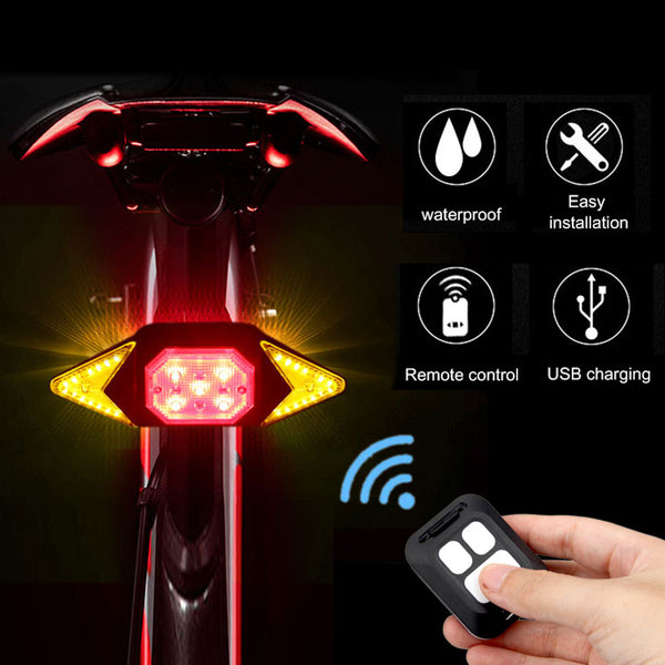 USB Smart Bike Taillight Remote Control Rear Bicycle Light MTB Road Cycling Turning Signal Warning Lamp