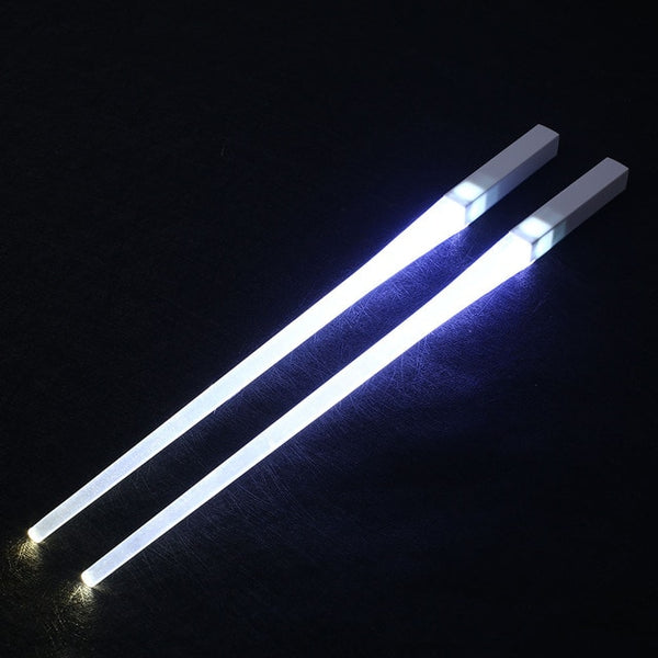 Creative 1 Pair LED Lightsaber Chopsticks Light Up Durable Lightweight Kitchen Dinning Room Party Portable Food Safe Tableware