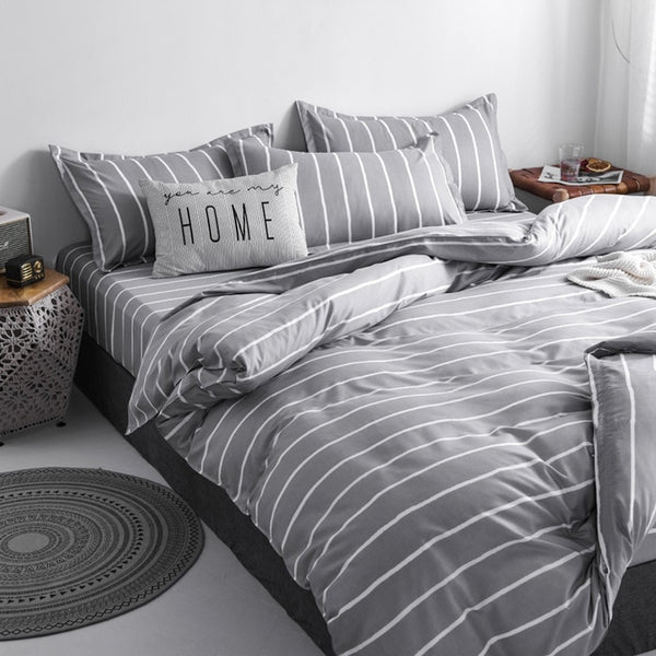 Classic bedding set 5 size grey blue grid summer bed linen 4pcs/set duvet cover set