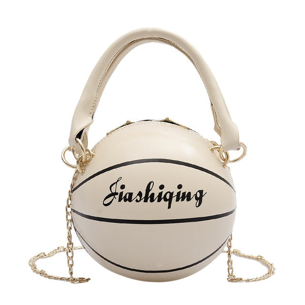 Basketball Round Shaped PU Leather Shoulder Bags for Women