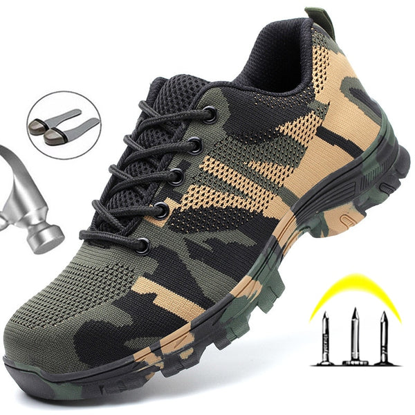 Construction Indestructible Shoes Men Steel Toe Cap Work Safety Boot Camouflage
