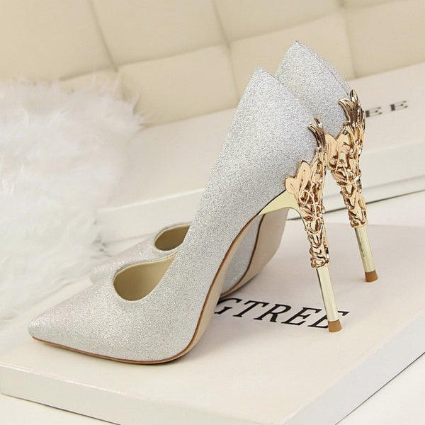 Metal Carved Thin Heel High Heels Pumps Women Shoes Pointed Toe