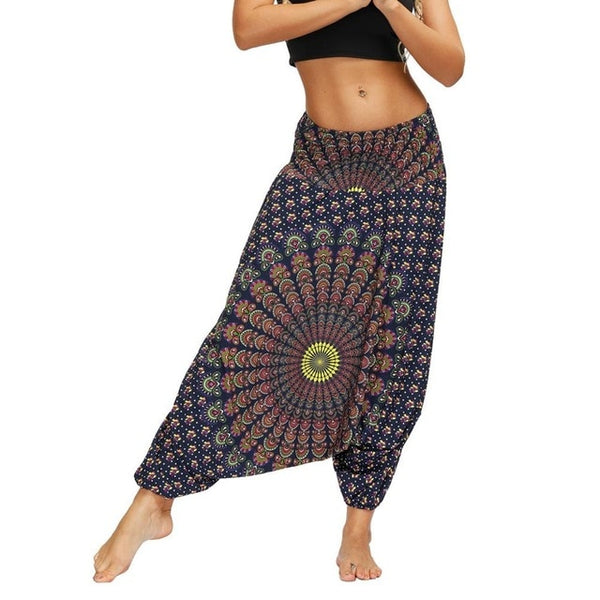 Ladies Casual Summer Loose Trousers Baggy Boho Aladdin Print Casual Fashion