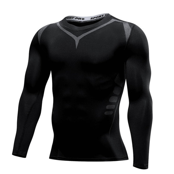 Men's Compression Running T Shirt Fitness Tight Long Sleeve Training Jogging Shirts