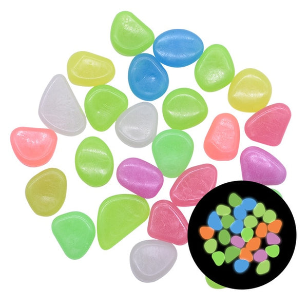 25/50pcs Glow in the Dark Garden Pebbles Glow Stones Rocks for Walkways