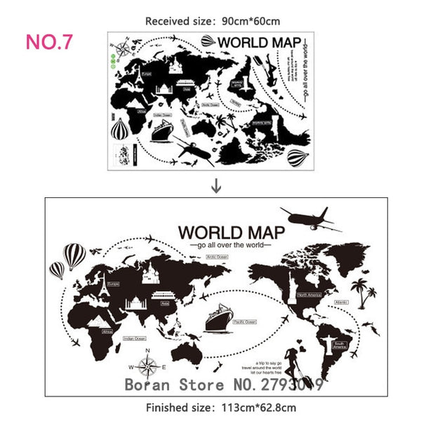 Large Size World Map Wall Stickers Black Map of The World Home Decor